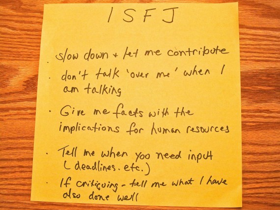ISFJ: To communicate with me